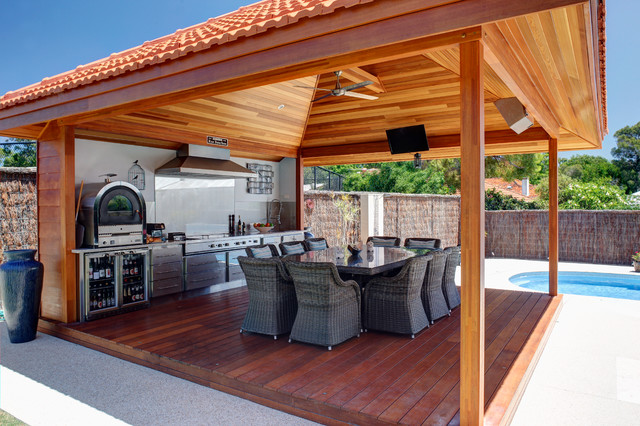 Stainless steel outdoor alfresco kitchen perth modern for Outdoor kitchen ideas houzz
