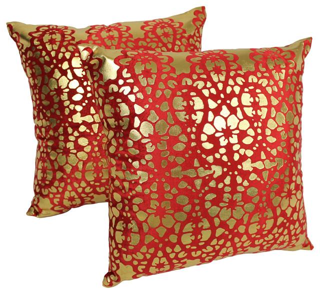 20 Paisley Scaled Velvet Throw Pillow Set Of 2 Crimson Gold