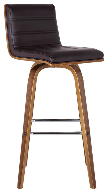 Vienna Contemporary Swivel Bar Stool, Counter Height, Brown