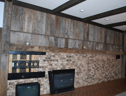 tin ceiling ideas - What to do with this Barn wood Brick wall