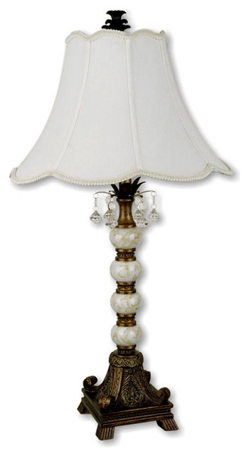 "31"" Tall Table Lamp W/ Antique Gold Finish, Victorian Style, White Shade."