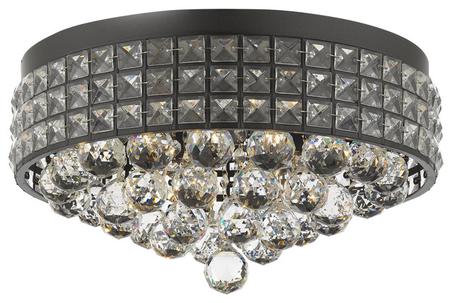 Flush Mount French Empire Crystal Chandelier With 40 Mm. Crystal Balls.