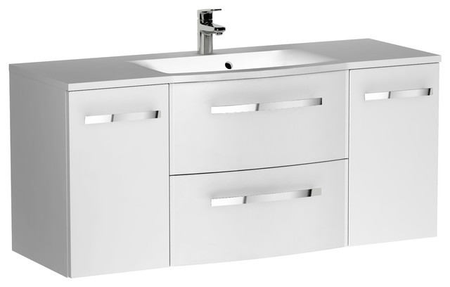 "Wave 6-Drawer Floating Bathroom Vanity, 47"", White."