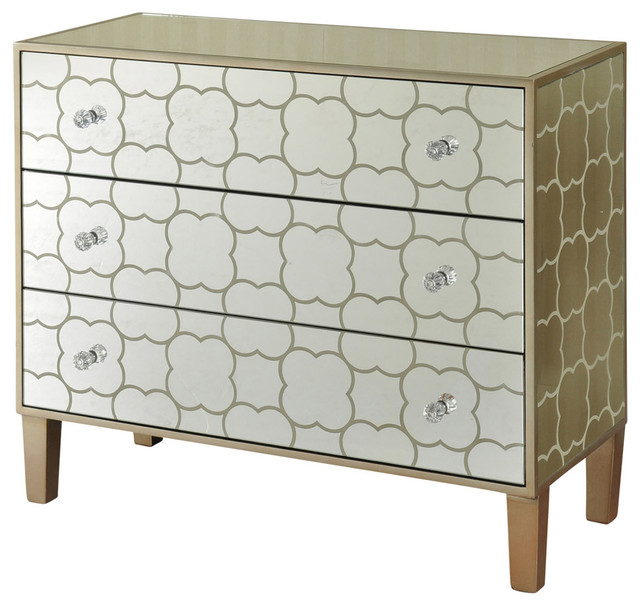 Stenciled 3 Drawer Mirrored Chest, Champagne Silver Finish.
