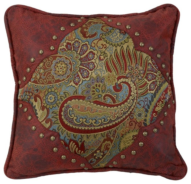 Red Leather Decorative Pillow : Paisley Print Pillow With Red Faux Leather - Traditional - Decorative Pillows - by HiEnd Accents
