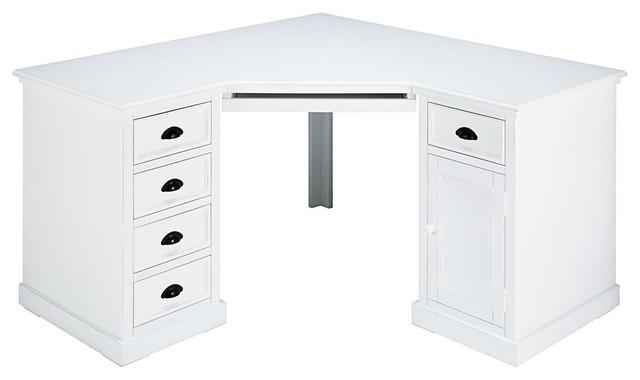 Scrivania Angolo Computer : Scrivania ad angolo a un anta e cassetti bianca in abete newport