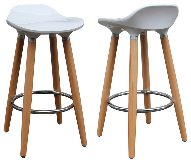 Plastic Counter Stools Set Of 2 White Contemporary