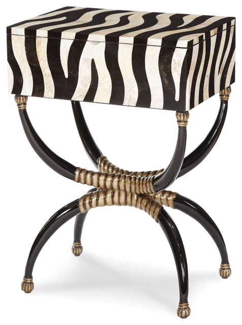 High Quality Discoveries Zebra Box On Stand Table Traditional Side Tables And End