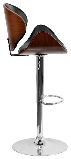 Flash Furniture Walnut Bentwood Adjustable Height Barstool.
