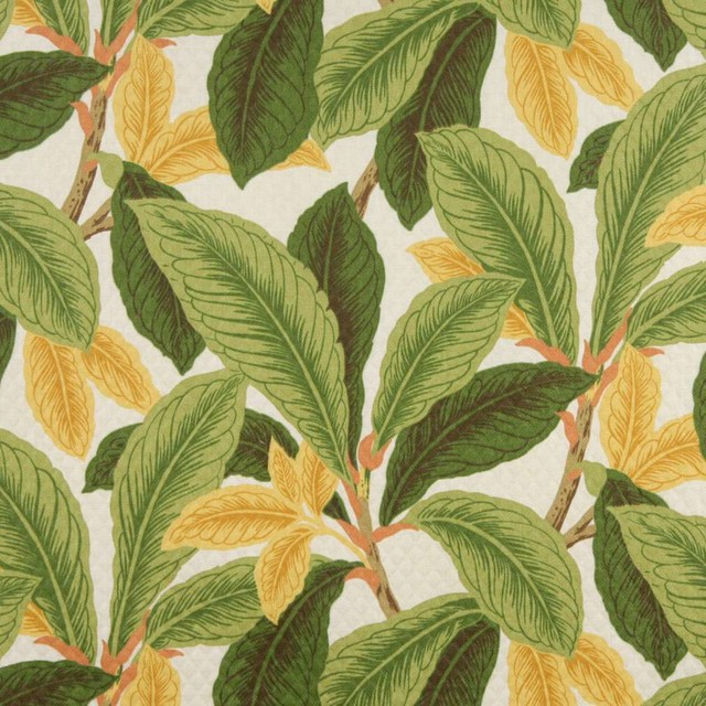 Green And Gold Floral Leaf Indoor Outdoor Marine Upholstery Fabric