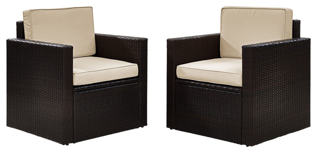 Palm Harbor 2-Piece Outdoor Wicker Seating Set With Sand Cushions.