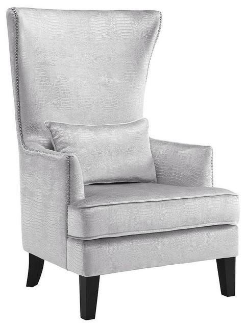 Bristol Silver Faux-Croc Tall Chair by TOV Furniture