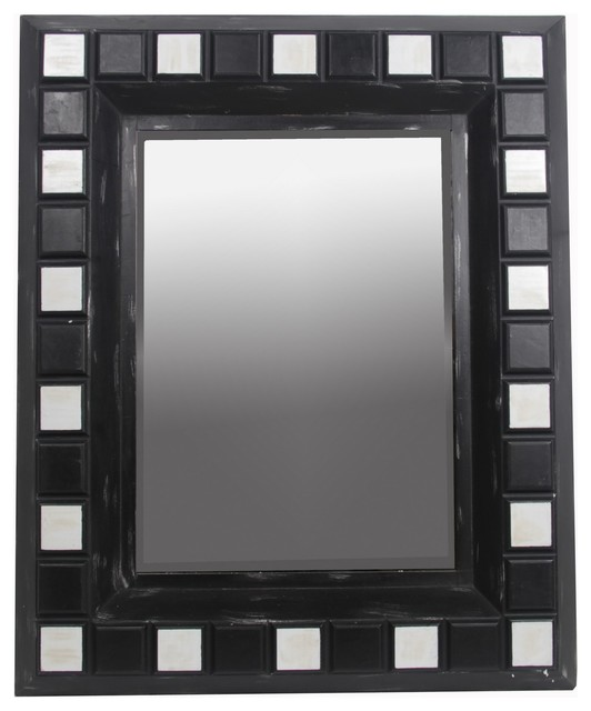 "Rectangular Black And White Beveled Glass Wall Mirror, 48""x39""."
