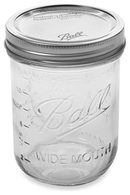 Wide Mouth Glass Canning Jars, Pint.