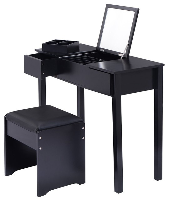 Modern Style Makeup Dressing Table Set Vanity With Cell Storage Box, Black