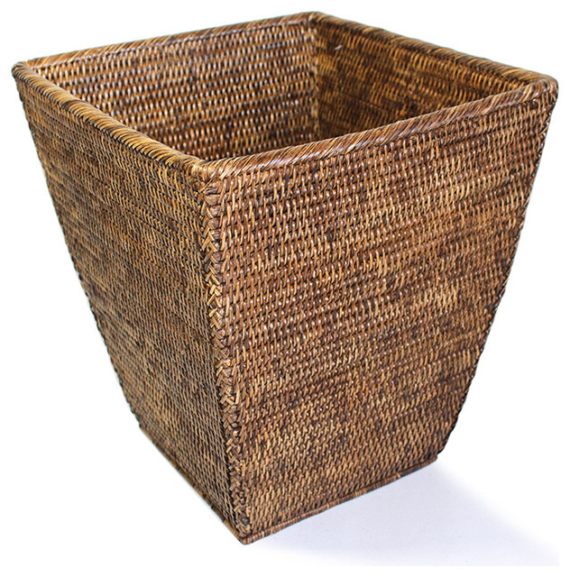 Rattan Waste Basket Square Tropical Wastebaskets By