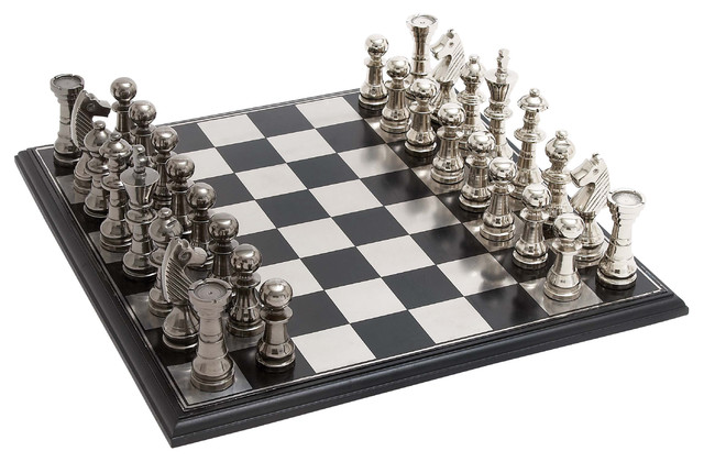 Steel Chess Set vintage stainless steel chess set - transitional - board games and