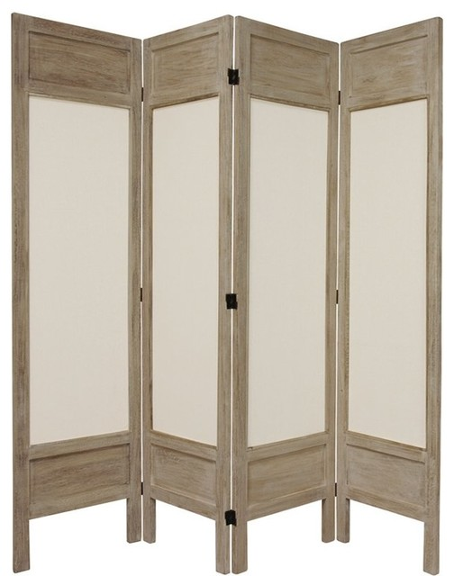 6 Ft Tall Solid Frame Fabric Room Divider 4 Panels: 5 1/2' Tall Solid Frame Fabric Room Divider