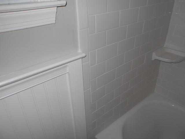 Wainscoting with subway tile traditional