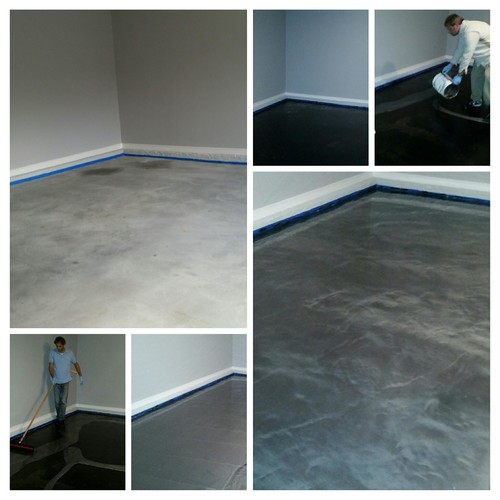titanium metallic epoxy was applied over a black epoxy base coat to add depth to the final appearance the garage now has a beautiful new look