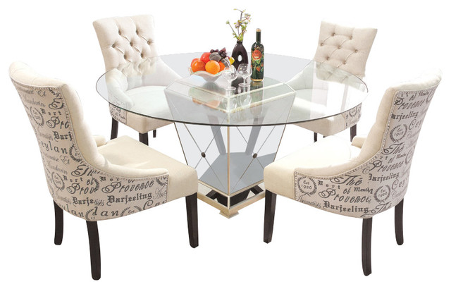 Furniture Import & Export Inc. - 5-Piece Round Glass Dinette Set ...