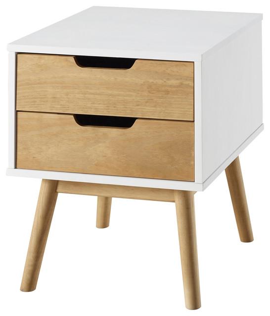 2-Drawer Nightstand, White