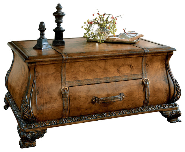 Butler Specialty Company Butler Traditional Bombe Trunk Table Light Brown Coffee Tables Houzz