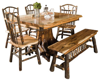 Rustic Rectangle Live Edge Stump Dining Table With Chairs and Bench