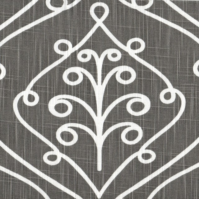 Barcelona Summerland Gray Scroll Tailored Valance Lined Cotton.