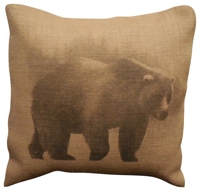 """Bear Burlap Pillow, 16""""x16""""."""