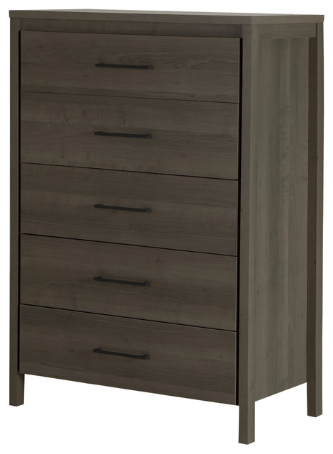 South Shore Gravity 5-Drawer Chest, Gray Maple.