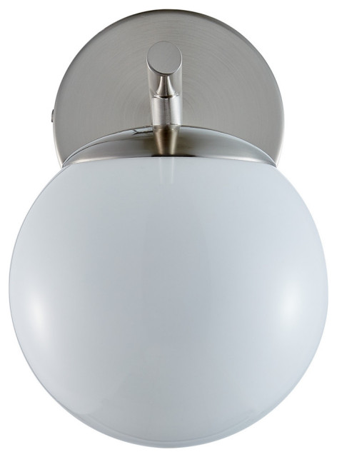 Aidan Single Sconce, Brushed Nickel With Glossy Frosted Glass