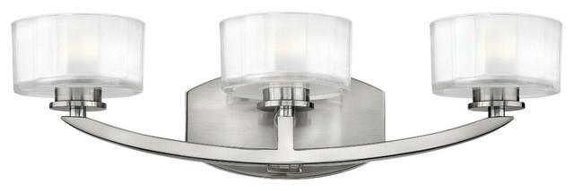 George Kovacs Brushed Nickel Five Light Bath Fixture In: Meridian 3-Light Bathroom Vanity Light, Brushed Nickel