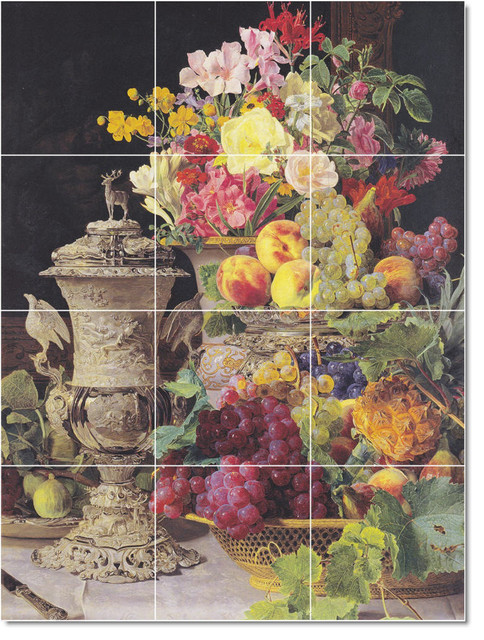 Picture tiles llc georg waldmuller ferdinand flowers for Ceramic mural painting