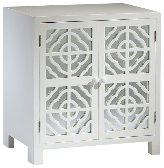 White Mirrored Cabinet - Traditional - Nightstands And Bedside Tables - by Inviting Home Inc