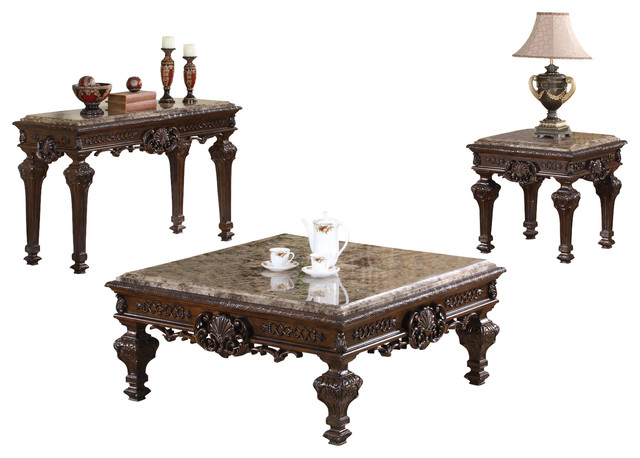 Traditional Living Room Table Set, 3 Piece Set Victorian Coffee Table