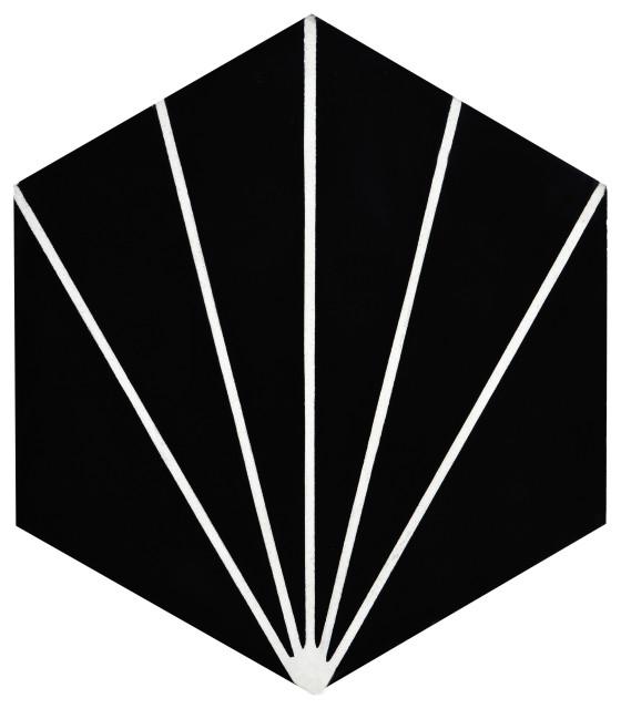 Menara Handmade Cement Tile, Black/White, Sample