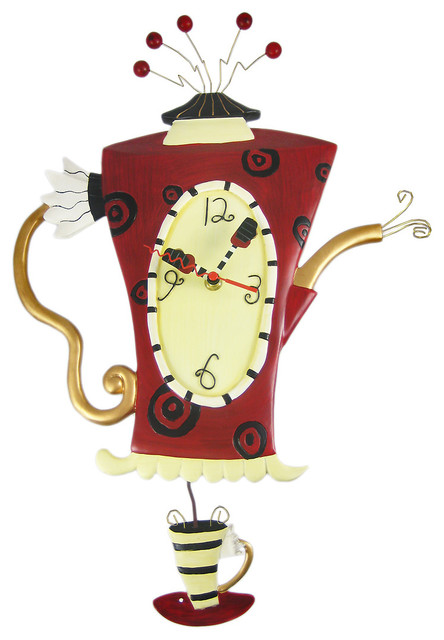 allen designs teau0027 teapot pendulum wall clock wallclocks - Pendulum Wall Clock