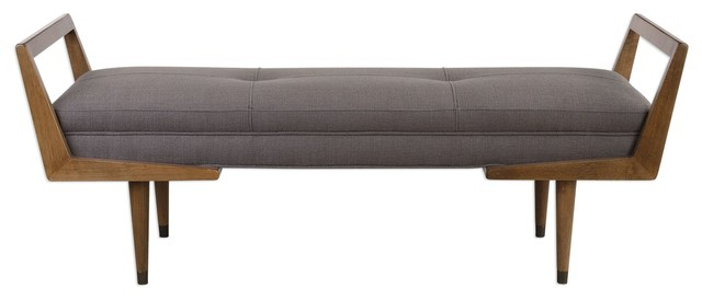 Midcentury Modern Exposed Wood Frame Bench Tufted Gray