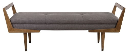 Midcentury Modern Exposed Wood Frame Bench, Tufted Gray Brown Retro Long