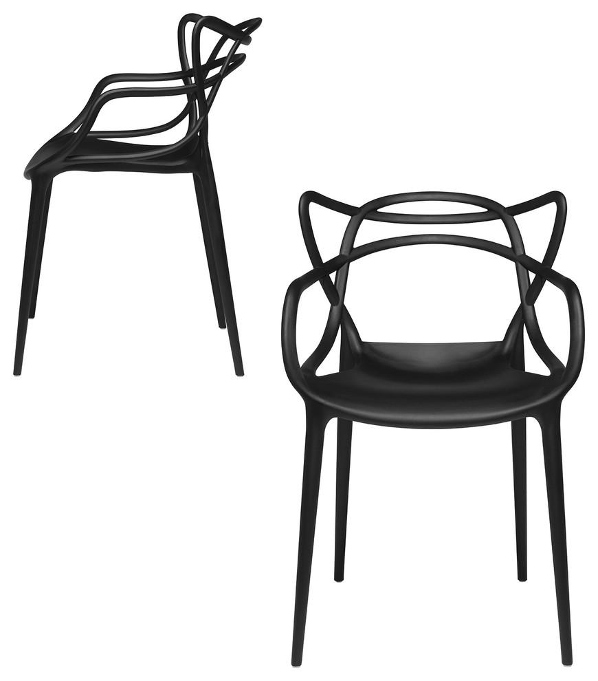 Modern Designer Masters Chair Black Set Of 2
