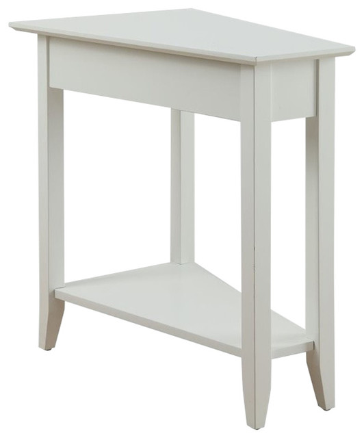 Pemberly Row Wedge End Table In White Transitional Side Tables