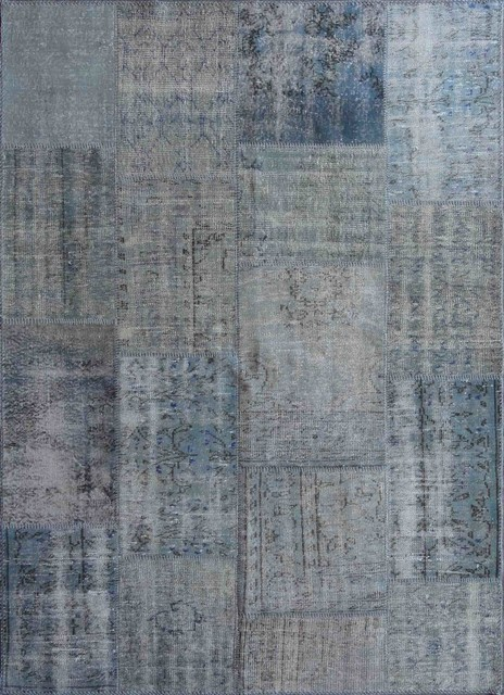 rugsville vintage turkish overdyed patchwork cool blue rug 9x12 arearugs