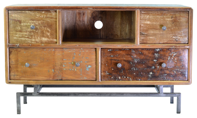 Mango Wood Media Console with 4 Drawers - Industrial - Media Cabinets - by The Khazana Home ...