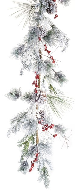 Pine, Snowflake And Berry Garland, Set Of 2, 4.5&x27;.