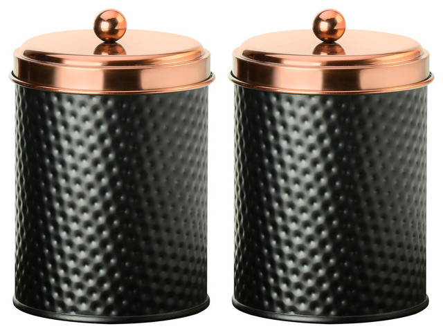 Amici Home Ashby Copper Black Metal Canister, Set of 2
