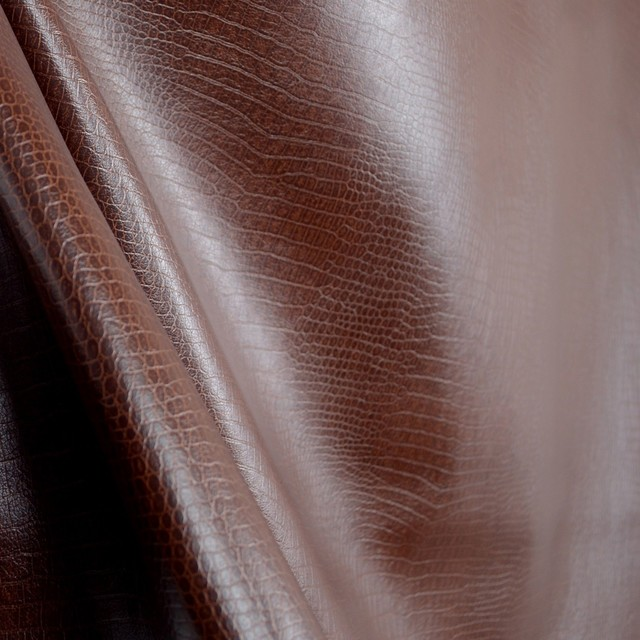 Crocodile Leather Brown Animal Skin Faux Leather Vinyl Upholstery Fabric