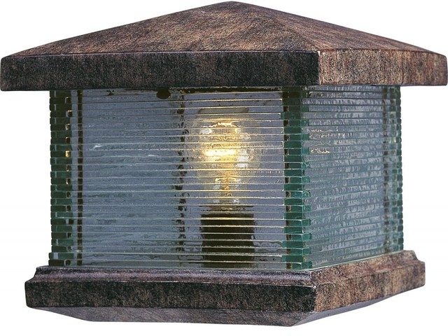 One Light Earth Tone Clear Glass Deck Light