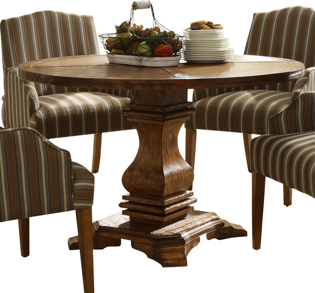 Rustic Round Kitchen Table: Homelegance Euro Casual Round Pedestal Dining Table In