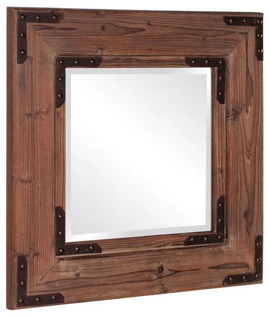 Caldwell Natural Wood Rustic Mirror 28, Wood Rustic Mirror
